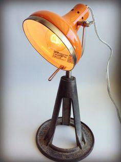 Lamp Industrial Upcycled Reclaimed Lighting Orange Steel Man Cave Minimalist Dorm Decor Pottery Barn