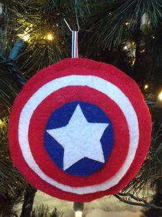 Captain America shield Christmas tree ornament on Etsy