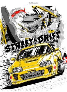Street drift print design on Behance Tuner Cars, Jdm Cars, Cars Auto, Toyota Supra, Jdm Wallpaper, Japon Illustration, Drifting Cars, Japan Cars, Car Drawings