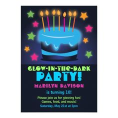 Invitations for Birthday Glow in the Dark Party