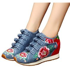 2017 Old Beijing Hidden Height Cloth Embroidery Elevator Shoes Wedges Women  Floral Ethnic Denim Canvas Casual Lady Zapatos Mujer e8279a9e02da