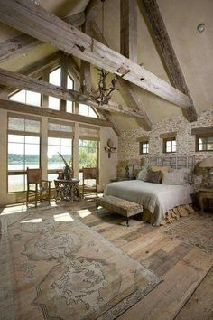 You will not believe how great your wooden barn house can look! Farmhouse Style Bedrooms, Farmhouse Master Bedroom, Bedroom Rustic, Barn Bedrooms, Bedroom Country, Master Bedrooms, Brick Bedroom, Bedroom Neutral, Bedroom Romantic