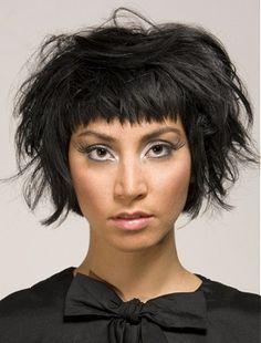 A medium black straight choppy messy Shortfringe hairstyle by Gina Conway