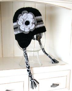 Flower earflap beanie by cottoncorner on Etsy, $22.00