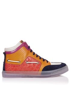 Mixed+Media+leather+high-top+trainers+by+Gucci+on+secretsales.com