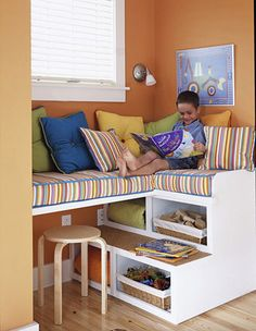 When considering storage space in your basement, get creative in your design. This unique storage unit doubles as fun seating for kids, who can climb up to reach the cozy cushions above. The open shelves are perfect for housing blankets that can be easily obtained on those chillier days. Woven baskets are perfect for hiding toys or organizing books