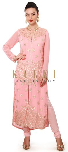 Buy Online from the link below. We ship worldwide (Free Shipping over US$100). Product SKU - 317172. Product Price - $149.00. Product Link - http://www.kalkifashion.com/pink-straight-suit-enhanced-in-gotta-patch-work-embroidery-only-on-kalki.html