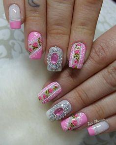 Mias uma galeria de imagens para quem está procurando unhas decoradas em pink ou cor de rosa, um clássico delicado que nunca sai da moda e está na preferên Glam Nails, 3d Nails, Gel Manicures, Mani Pedi, Pedicure, Natural Gel Nails, Rose Nails, Stylish Nails, Hair And Nails