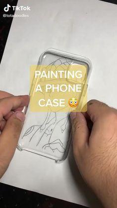 Anime Diys, Anime Crafts, Diy Crafts Hacks, Fun Crafts, Art Drawings Sketches Simple, Diy Canvas Art, Diy Phone Case, Art Tutorials, Diy Art