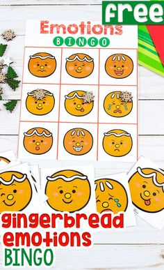 Free printable gingerbread Emotions BINGO game for preschoolers, pre-k and kindergarteners. Kids will love this Emotions game for learning about feelings during your Christmas theme. Perfect game for a Christmas party! Gingerbread Man Activities, Christmas Activities For Kids, Christmas Themes, Kids Christmas, Preschool Christmas, Toddler Preschool, Preschool Activities, Feelings Preschool, Fun Learning