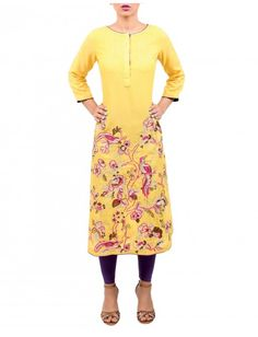 The delicate art work with wool thread and tilla add a charming look to this bright yellow lawn karandi shirt.