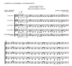http://www.guitarraul.com/p/42/allegretto-sinfona-7-beethoven Allegretto (Simphony 7) BEETHOVEN Guitar quartet arrangement with bass optional.