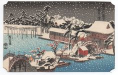 Beautiful 1930s Japanese Woodblock Print Postcard of Snow Scene and City in Antiques, Asian Antiques, Japan | eBay