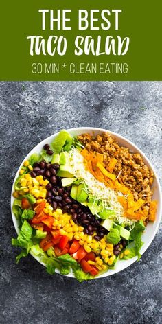 Taco salad recipe with turkey taco meat tortilla chips cheese avocado black beans corn tomatoes and romaine lettuce Plus instructions on how to store for meal prep Easy Taco Salad Recipe, Taco Salad Bowls, Taco Salad Recipes, Taco Salads, Mexican Food Recipes, Meal Salads, Black Bean Taco Salad Recipe, Veggie Taco Salad, Salads For Dinner