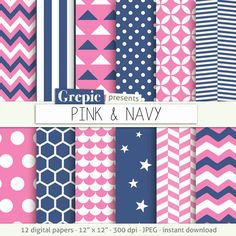 """SALE 50% Pink blue digital paper: """"PINK & NAVY"""" backgrounds with chevron stripes polkadots quatrefoil honeycomb scallops sta by Grepic"""