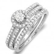 Vintage Round Halo 1 Carat Diamond Wedding Ring Set $1,349.99