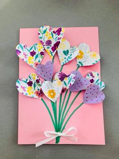 Birthday Cards For Mother, Birthday Presents For Mom, Mothers Day Crafts For Kids, Diy Crafts For Kids, Origami, Birthday Diy, Preschool Crafts, Diy Cards, Homemade Cards