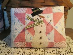 Primitive Christmas SNOWMAN Applique PILLOW made from ANTIQUE Star QUILT