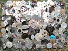 Antique Vintage Buttons Pearl Shell Abalone Smoky Iridescents