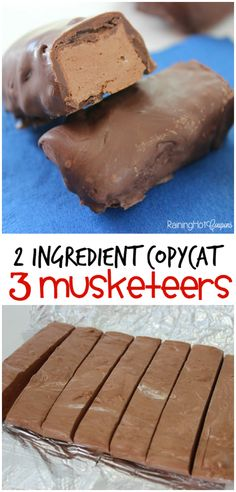 2 Ingredient Copycat 3 Musketeers - These chocolate bars only take 2 ingredients and are delicious!