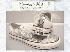 Crystal Converse Low rise / Wedding converse / by CindersWish, £96.00