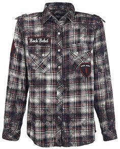 Rock Rebel by EMP Checkered Application Shirt Hemd dunkelgrau/weiß S