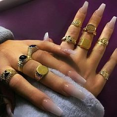 """If you're unfamiliar with nail trends and you hear the words """"coffin nails,"""" what comes to mind? It's not nails with coffins drawn on them. Although, that would be a cute look for Halloween. It's long nails with a square tip, and the look has. Piercings, Love Bracelets, Cartier Love Bracelet, Cute Jewelry, Jewelry Accessories, Jewlery, Bold Jewelry, Trendy Jewelry, Summer Jewelry"""