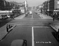 Sheridan and Irving Park Road, looking North on Sheridan, in 1936.