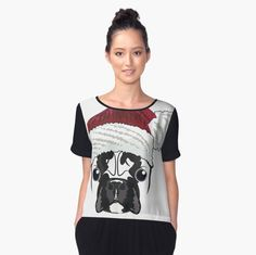 'Frenchie Christmas ' Women's Chiffon Top by V Neck T Shirt, Classic T Shirts, Hoodies, Fitness, People, Stuff To Buy, Tops, Women, Fashion