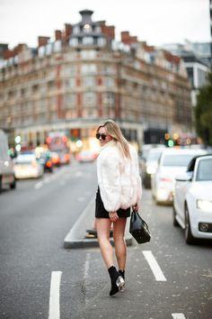White Fur Coat + Lucite Sock Booties   bows & sequins