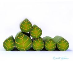 Polymer clay millefiori cane  Olive Green and Light by RonitGolan, $4.95