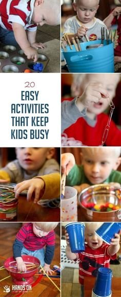 Keep your child busy and engaged with these 20 easy activities using materials you probably already have at home. Set up is super simple, too! via @handsonaswegrow