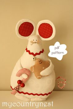 Sewing Pattern:  mouse  Softie pattern Christmas von Mycountrynest