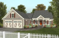 Southern Style House Plans - 1496 Square Foot Home , 1 Story, 3 Bedroom and 2 Bath, 2 Garage Stalls by Monster House Plans - Plan 4-122