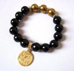 Black Onyx bracelet Gold Hematite bracelet by Thingsfromtheheart
