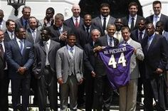 President Barack Obama welcomed the Super Bowl champion Baltimore Ravens to the White House on Wednesday, congratulating the team on its unlikely title run - and offering some good-natured jibes.