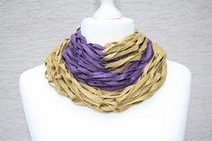Weiteres - Loop Tuch Schlauchschal senf gelb violett - ein Designerstück von trixies-zauberhafte-Welten bei DaWanda