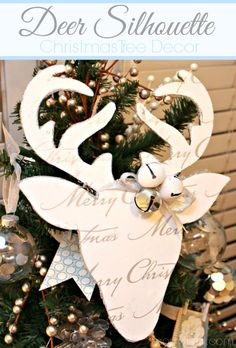 Deer Silhouette {Christmas Tradition Series} - The Crafting Chicks Diy Christmas Reindeer, Reindeer Craft, Noel Christmas, Christmas Tree Toppers, Christmas Paper, Christmas Projects, All Things Christmas, Handmade Christmas, Holiday Crafts