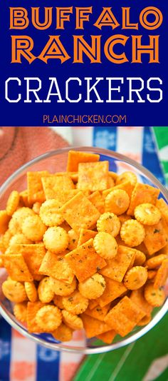 Buffalo Ranch Crackers - SO good! Great for parties or on top of soups and chili. Oyster crackers, Cheez-its, ranch mix, oil and buffalo sauce. Makes a ton. We always have a bag in the pantry. Crackers Appetizers, Finger Food Appetizers, Appetizers For Party, Appetizer Recipes, Snack Recipes, Cooking Recipes, Finger Foods, Healthy Recipes, Ranch Crackers