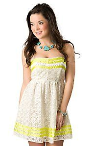 Flying Tomato® Women's Cream Lace with Neon Yellow Strapless Dress