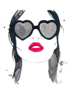 Kiss em and Hide, #watercolor #kiss #fashionillustration by Jessica Durrant