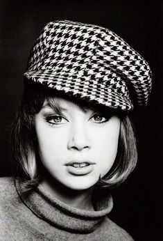 Pattie Boyd, houndstooth was wildly popular, as it is today.  I had a cap just like this. It captures a moment in time.