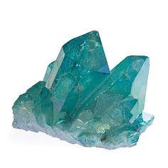 Aqua Aura - This is a clear quartz with a metallic light blue tint from electrical infusion of gold which amplifies the quartz's conductivity. It increases the ability to send energy and alter consciousness for meditation, telepathy and healing.