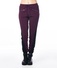 Black & Wine Color Block Sweatpants | zulily