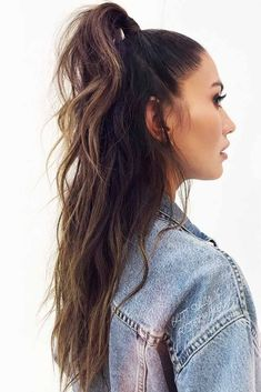 Wavy Brunette Half-Up Ponytails #wavyhair #halfup #ponytails ❤️ Wavy hair styles are extremely popular nowadays, and there is no wonder why as they are so effortlessly gorgeous. You can create wavy hairstyles on any hair length, using styling products and a deep waver or a curling iron and look chic wherever you go. ❤️ #lovehairstyles #hair #hairstyles #haircuts