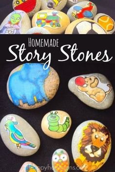 Homemade Story Stones Literacy Activities, Preschool Activities, Preschool Yoga, Language Activities, Cut Out Pictures, Happy Hooligans, Story Stones, Ideas Geniales, Early Education