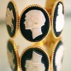 black and gold cameo bracelet