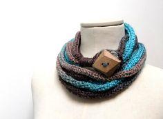 Knit Infinity Scarf Necklace Loop Scarlette Neckwarmer  by ixela, $35.00