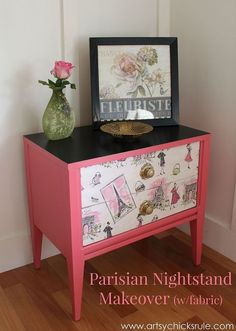 """""""Pretty in Pink"""" Parisian Nightstand Makeover (w/Fabric) - Do something like this to my standing jewelry box"""
