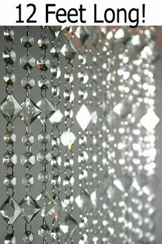 """Aces and Eights 3' x 12' Crystal Bead Curtain by ShopWildThings. $69.99. This amazing new acrylic curtain is absolutely a dream come true. It's 3 feet wide, 12 feet long, and has 15 strands of crystal clear beautiful hand-strung beads. Each bead is attached to the next with jump rings. This curtain is made up of wonderful square beads (hung on a diagonal) and octagon beads. Each bead is faceted to pick up the light wonderfully. The Squares are 1"""" and the Octagons are 1/2"""" in..."""